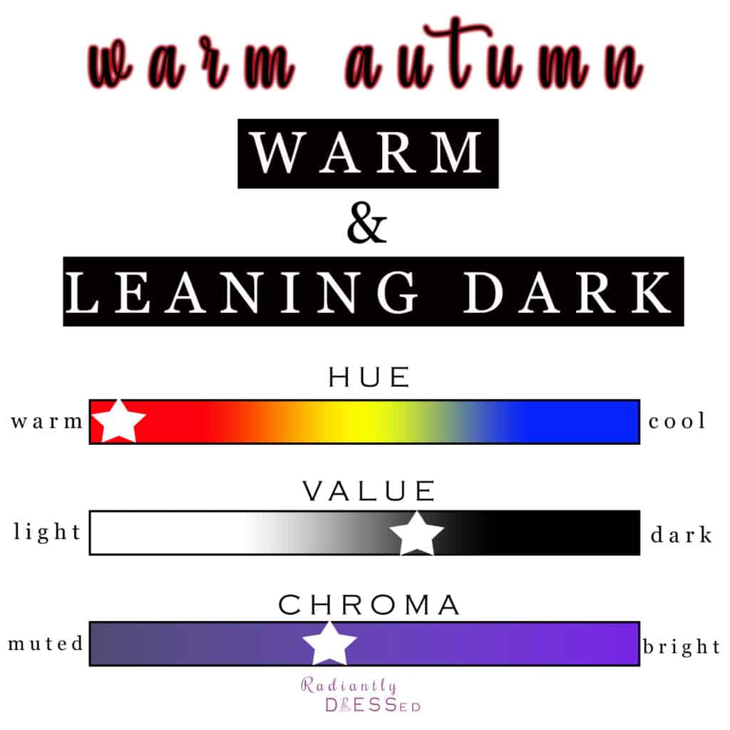 Warm autumn is overall warm, leaning dark and soft