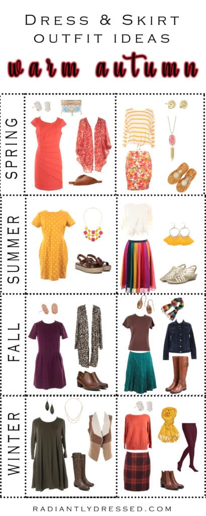 Dress and skirt outfits for warm autumn