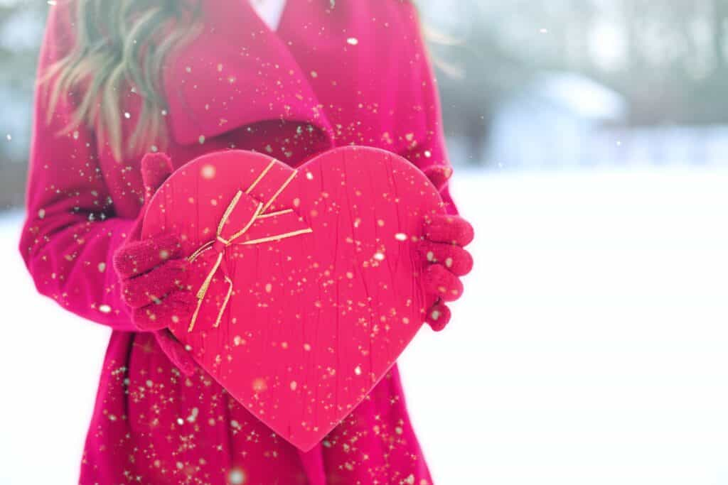 Picture of Woman with Heart for Valentine's Day Gift