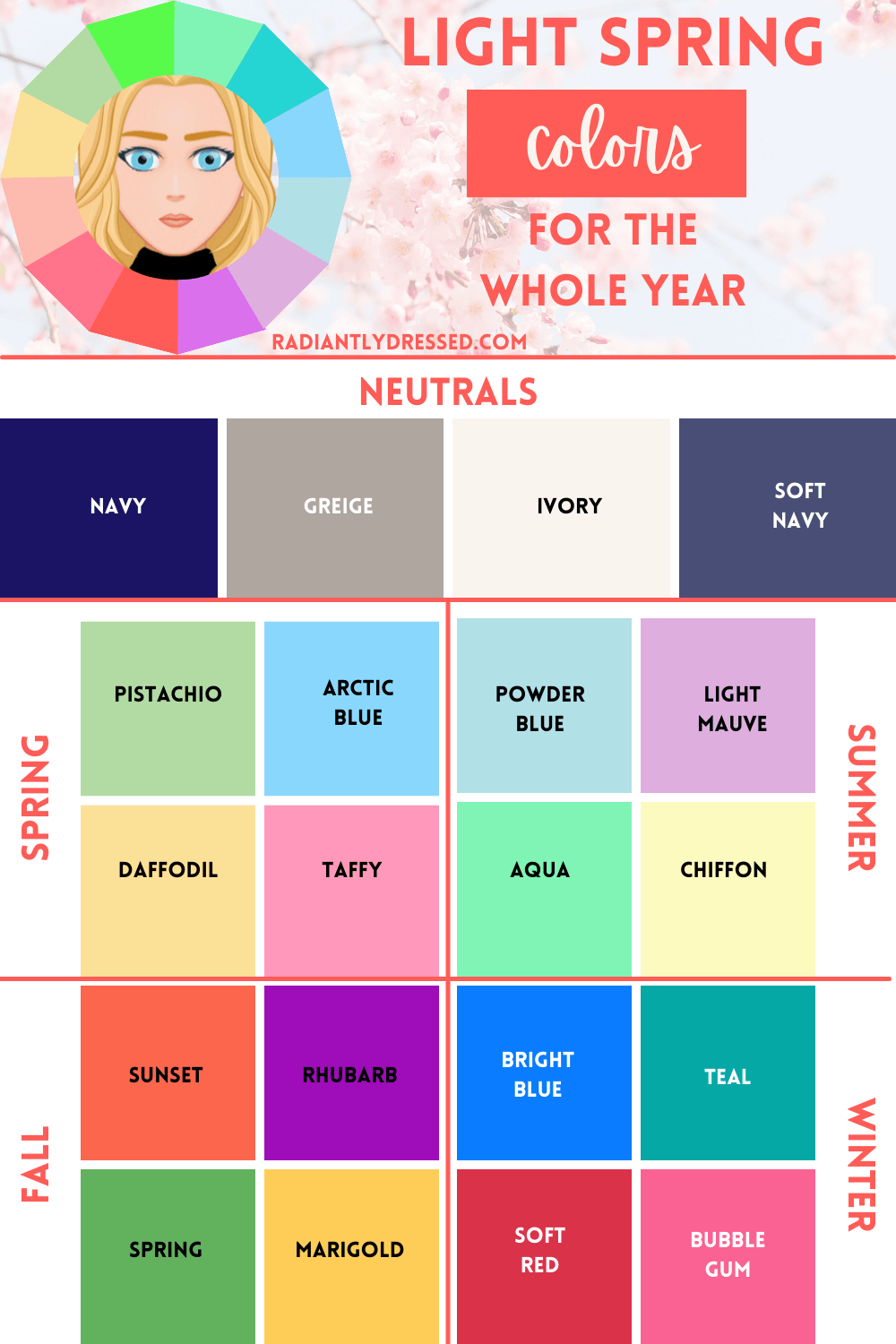 year round colors for light spring