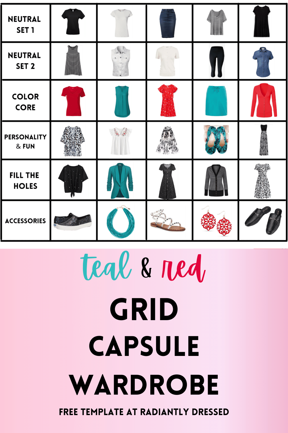 Teal and Red Capsule Wardrobe