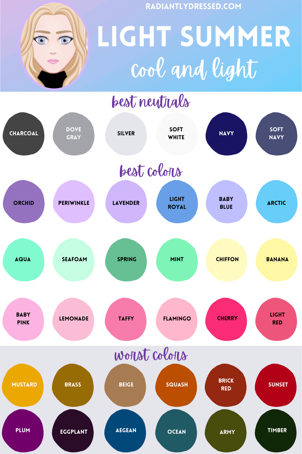 best and worst colors for light summer